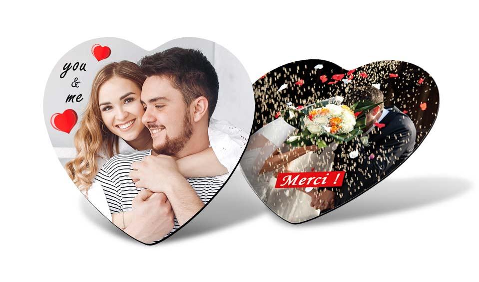 Magnet photo cœur personnalisé